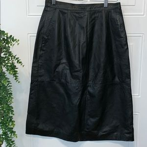 Skirt leather vintage long lined 11 12 size A line